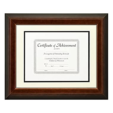 Craig Frames 11x14-Inch Mahogany Document Frame, Double Mat with Single 8.5x11-Inch Opening