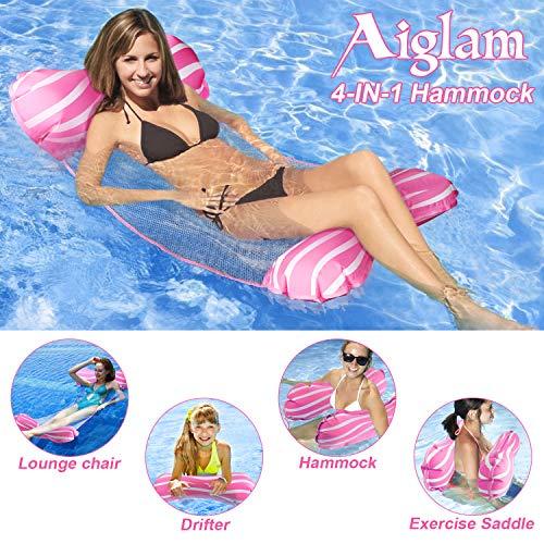 Aiglam Wasser Hängematte Pool Liege Float Hängematte Schlauchboote Schwimmbad Luft Sofa Schwimmstuhl Bett Drifter Swimmingpool Beach Float für Erwachsene (Rosa)