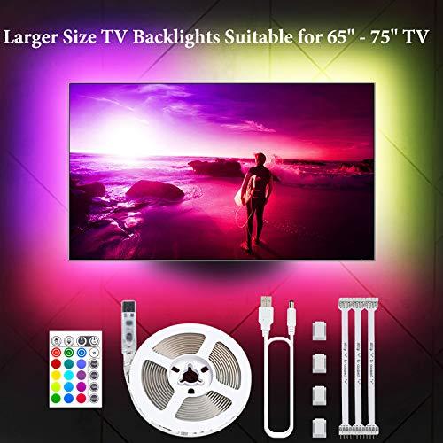 "LED TV Hintergrundbeleuchtung, 4.36M LED Strip LED Streifen USB 5050 RGB 106 LEDs 16 Farben 4 Modus für 65\"" -75\"" HDTV, PC Monitor, Hause Dekor MEHRWEG"