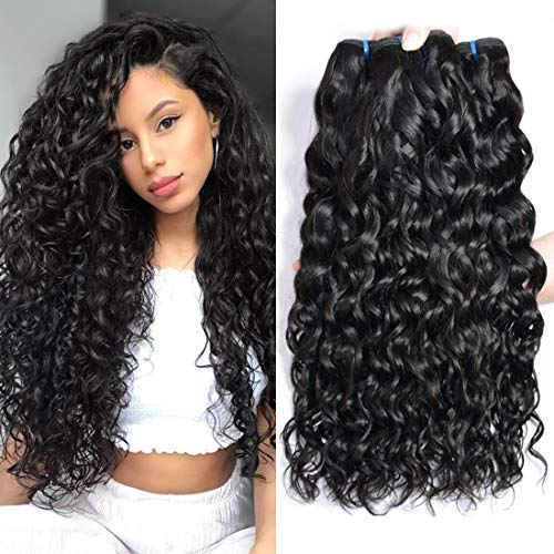 Ur Beautiful 8A Wet and Wavy Human Hair Weave Bundles Brazilian Water Wave Hair Bundles Curly Human Hair 3 Bundles 10 12 14 Inch Natural Black Color Total 300g