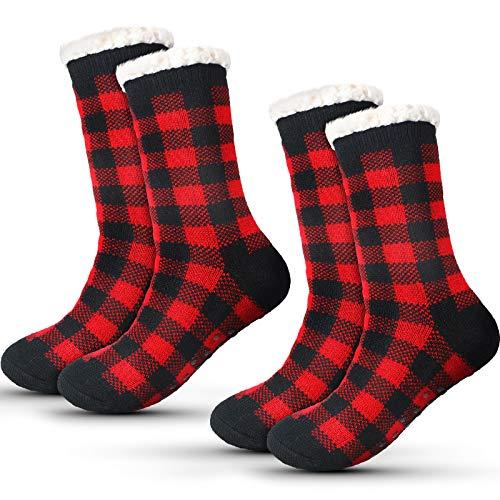 2 Pairs Winter Slipper Socks Christmas Cozy Winter Stockings Fuzzy Slipper Socks Fleece Lined Warm Christmas Plaid Socks with Grippers