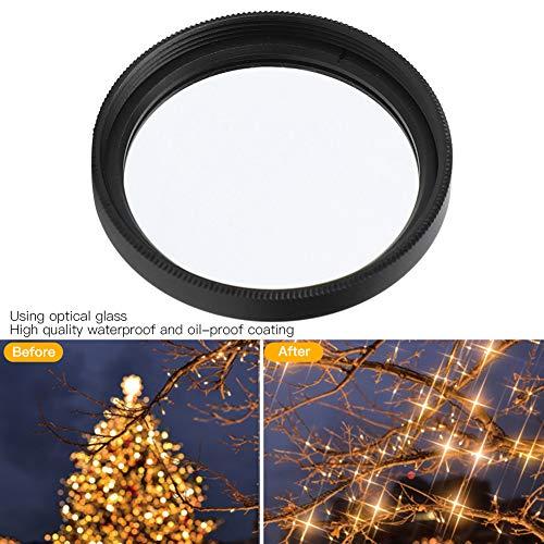 Star Filter, Junestar Star Filter 49mm Accesorio para cámara para Canon Lente 6 Line Starlight Night Shot para cámaras SLR con un diámetro de 49 mm/1.9in