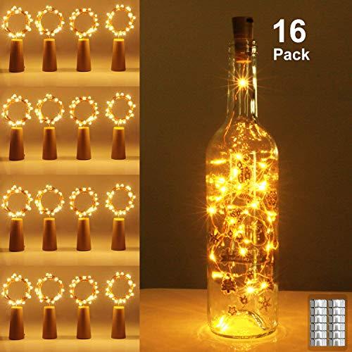 16 Stück Flaschen Licht Warmweiß, 20 LEDs 2M Flaschenlicht Warmweiß Lichterkette korken Stimmungslichter Weinflasche Nacht Licht für Flasche DIY, Party, Garten, Weihnachten, Halloween, Hochzeit Deko