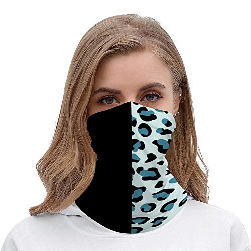 Animal Print, Leopard Spots - Blue Black Neck Gaiter Tube Mask Headwear, Seamless Face Cover Mouth Mask Bandanas for Dust, Outdoors, Festivals, Sports