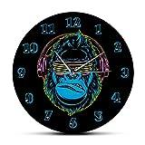 Gorila Divertido Escuchando música en Auriculares Reloj de Pared Moderno Reloj de Pared silencioso sin tictac Reloj de Pared de Sala de Estar con Estilo DJ Decoración para el hogar-a