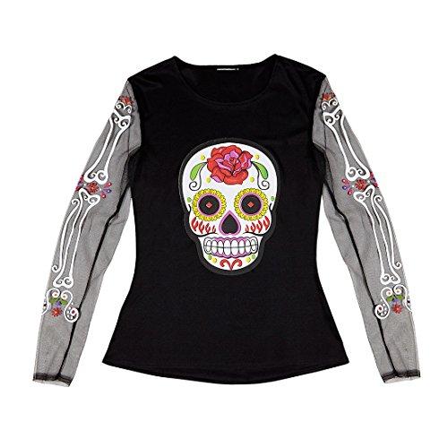 Amakando La Catrina Kostüm Sugar Skull Shirt Dia de los Muertos Damenkostüm Halloween Outfit Damen Halloweenkostüm Frauen Tag der Toten Verkleidung