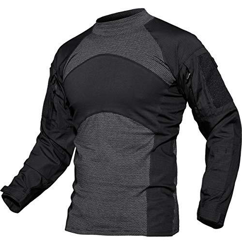TACVASEN Men's Military Rapid Sleeve Slim Fit Long Sleeve Military T-Shirt Black,US M