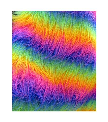 1 mètre 60 cm de largeur-Tissu fourrure de qualité pour robe tissu à rayures arc-en-ciel