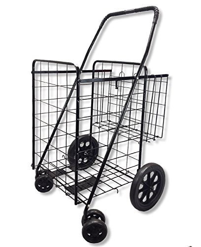 Goplus Jumbo Folding Shopping Cart, with Double Basket and Swivel Wheels, Utility Cart for Grocery Laundry Book Luggage Travel