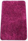 Brandseller - Alfombra de baño moderna de chenilla en estilo tupido, color crema, verde, turquesa, burdeos, gris y pardo, aprox. 50 x 70 cm, poliéster, morado, 50 x 80 cm
