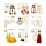 53 Pairs Fashion Earrings Set for Women Girls, Pearl Studs Bohemian Tassel Earrings Leopard Acrylic Hoop Drop Dangle Earrings Packs for Birthday/Party/Christmas/Valentine's Day Gifts, Assorted Styles and Colors