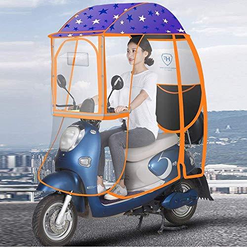 BGSFF Toldo transparente para coche eléctrico totalmente cerrado, para movilidad, scooter, sol, lluvia, viento, para evitar paraguas, cubierta universal para motocicleta eléctrica