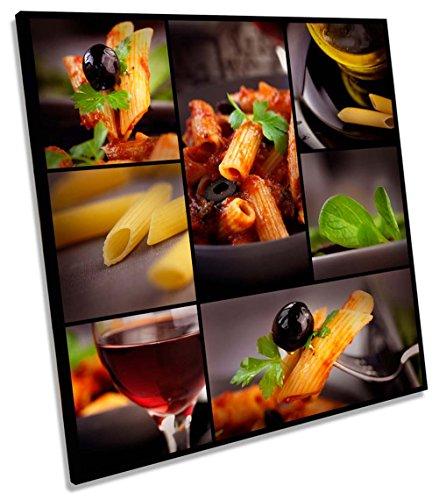 Canvas Geeks Pasta cucina italiano ristorante quadrato tela da parete stampa, 90cm wide x 90cm high