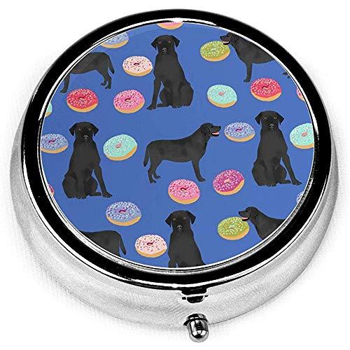 Labrador Retriever Ciambelle per cani neri Novità Novità Scatola rotonda per pillole Tasca Medicina Porta tablet Porta tablet Organizer per Borsa Regalo unico