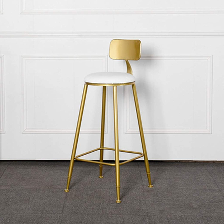Club Bar Chair, Dressing Room Cloakroom Chair Metal Sponge Bar Stool Tea Shop Coffee Shop High Stool Height 65-75CM (color   White, Size   65CM)
