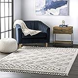 nuLOOM Ansley Soft Lattice Textured Tassel Area Rug, 3' x 5', Beige