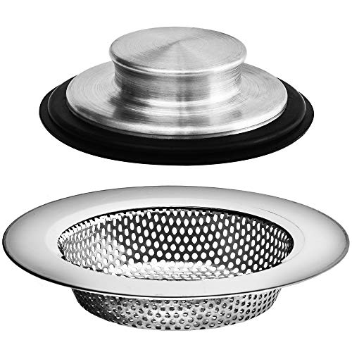 2PCS - Kitchen Sink Drain Strainers and Anti-Clogging Kitchen Sink Stoppers - Kitchen Drainer and Stopper Set for Standard 3-1/2 Inch Kitchen Sink Drain