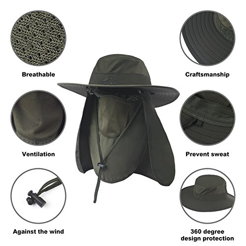 Fishing Hat,Sun Cap with UPF 50+ Sun Protection and Neck Flap,for Man and Women… Army Green