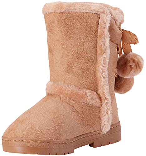 bebe Girls Fur Trimming Winter Boots with Back Lace Up (Toddler/Little Girl/Big Girl), Size 13 Little Kid, Tan