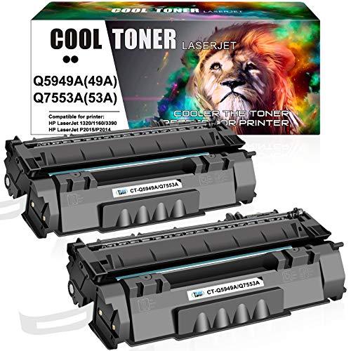 Cool Toner Compatible Toner Cartridge Replacement for HP 49A Q5949A 49X Q5949X 53A Q7553A HP Laserjet 1320 1320n P2015 P2015dn P2014 3390 1160 P2015d 1320tn M2727nf Toner Cartridge ink (Black, 2-Pack)