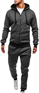 Men Patchwork Zipper Sweatshirt Top Pants Sports Suit Tracksuit