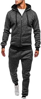 Men Zipper Patchwork Hoodie Pants Tracksuit Jogging Sweatsuit Activewear