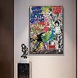 Impresiones en Lienzo Arte Moderno de Graffiti de Calle, Pintura en Lienzo sobre Lienzo, póster e Impresiones, Arte de Pared, Nunca te Rindas, Imagen para la decoración del hogar de la Sala 50x70cm