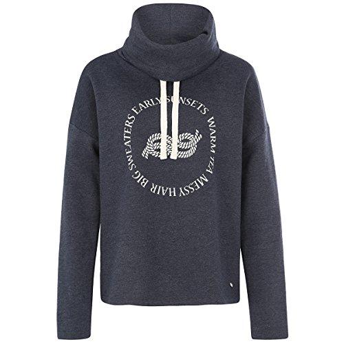 Deik&Dunes Sylka - Sweater mit Kragen und Print in dunkelblau Washed, Größe S