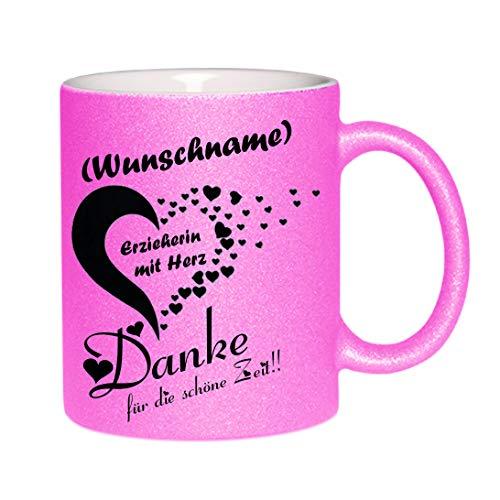 Crealuxe Glitzertasse (Pink) (Wunschname) Erzieherin mit Herz - Danke. - Kaffeetasse, Bedruckte Tasse mit Sprüchen oder Bildern, Bürotasse,