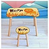 Kindertisch mit Stuhl Kindersitzgruppe Kinder Tisch Hocker Set Holz für Kleinkinder Motiv Roar für Jungs und Mädchen