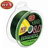 WFT KG 8 grün 150m - Geflochtene Angelschnur zum Spinnangeln & Meeresangeln, Raubfischschnur, Geflechtschnur, Meeresschnur, Durchmesser/Tragkraft:0.16mm / 22kg Tragkraft