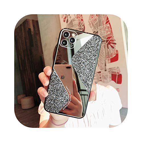 Carcasa de lujo chapada con espejo para iPhone 11, 7, 8 Plus, XR, XS X, con purpurina, espejo de maquillaje, cubierta trasera para iPhone 6, 6S Plus SE 2020 y 11, color negro para iPhone XR