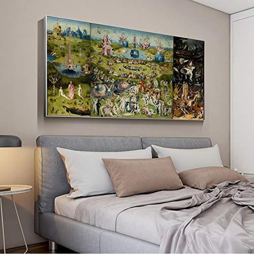 YCCYI El jardín de Las delicias Famosas Impresión en Lienzo Arte Pintura Póster de Pared Imágenes Sala de Estar Decoración del hogar Obra de Arte 40x80cm (16x32in) Marco Interior