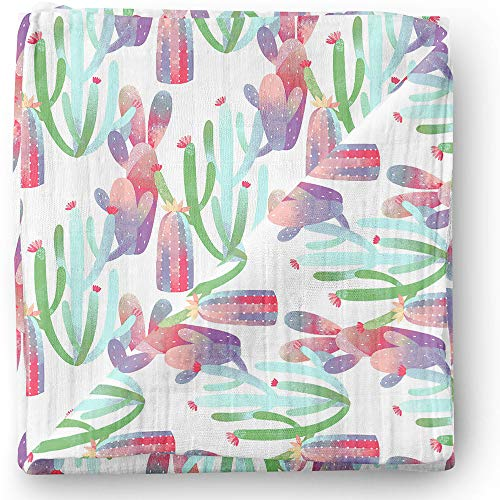 Aenne Baby Girl Floral Muslin Swaddle Blanket Cactus Purple Pink, Large 47 x 47 inch, 1 Pack, Luxurious Soft and Silky Bamboo, Nursing Cover, Wrap