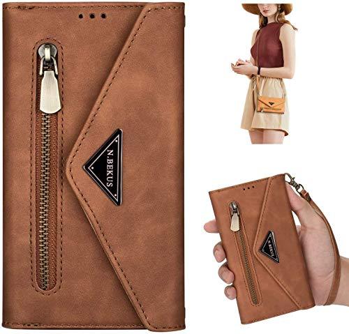 Uposao Kompatibel mit Huawei P20 Lite Handykette Hülle Wallet Leder Hülle Klapphülle Brieftasche Schutzhülle Geldbörse Flip Case Kartenfach Reißverschluss für Mädchen Frauen,Braun