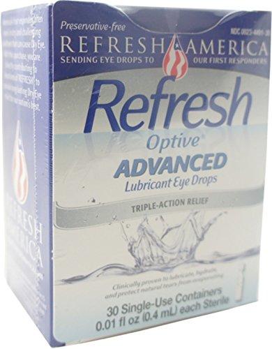 Refresh Optive Adv Pf Augen Größe 30ct Optive Erweiterte frei von Konservierungsmitteln Augentropfen