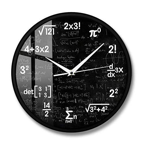 Yxxc Reloj de Pared Ecuaciones y notaciones de matemáticas Pizarra de matemáticas Reloj de Pared Friki Regalos educativos para niños Maestros Decoración de Aula de Escuela, Marco de Met