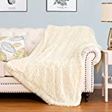 HBlife Luxury Soft Faux Fur Throw Blanket 50' X 60', Solid Reversible Lightweight Shaggy Fuzzy Blanket Plush Fluffy Cozy Decoration Throw Blankets for Couch and Living Room, Cream White