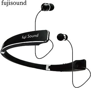 【2019進化版】Bluetooth イヤホン&スピーカー (一台二役)ネックスピーカー ワイヤレス 日本製 高音質 重低音 音量調節 首掛けスピーカー 長時間再生 ハンズフリー通話 技適認証 フジサウンド fujisound 1年保 証(ブラック)