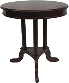 Home Source Industries Early American Round Accent Table, Mahogany