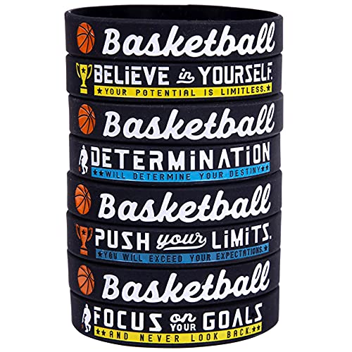 (12 unidades) pulseras de silicona de baloncesto con citas deportivas motivacionales – pulseras de goma para regalos de equipo de baloncesto a granel y favoritos de fiesta