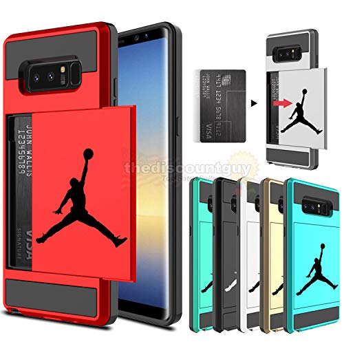 Samsung Galaxy S10e, S10 & S10+ Dual-Layered Credit Card ID Storage Basketball Case Michael Jordan Money Cash Slide Wallet Jumpman Air Lebron Gold Best 360 Protective Cover  (Black & Red, S10+)