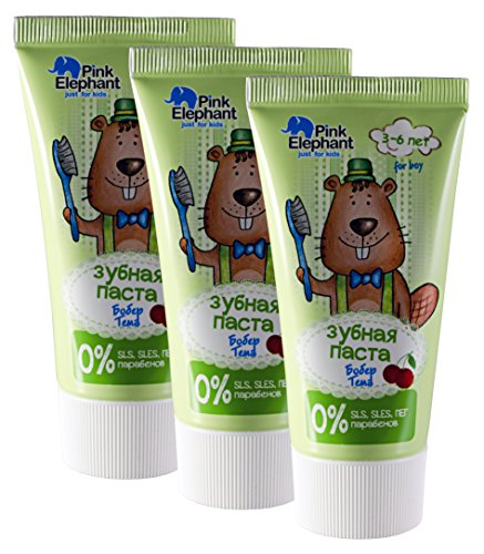 Pink Elephant Toothpaste Beaver Tema for Children 3-6 Years Old (Set of 3)