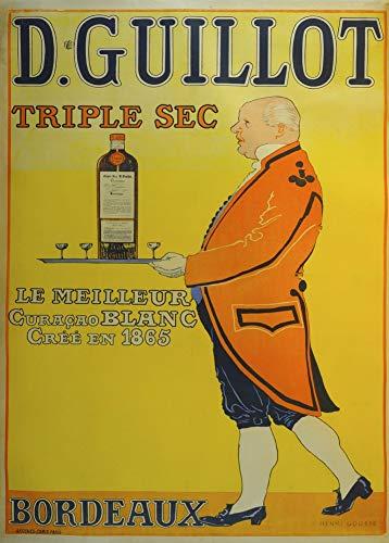 Vintage bieren, wijnen en sterke drank 'D. Guillot Triple Sec', Frankrijk, 1895, 250gsm Zacht-Satijn Laagglans Reproductie A3 Poster