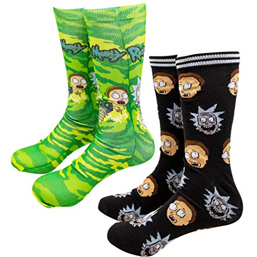 Rick and Morty Portal and Repeating Faces - Pack de 2 calcetines