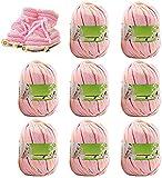 Hilo de tejer de algodón de ganchillo Set de hilo de tejer a mano 8 X Multi Color Rosa Clásico Sedoso Moda