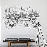TJFGJ Sketch Style Moskva River Scenery Pegatina De Pared, Pintura De Pared De Paisaje Extraíble Art DIY PVC Wall Decal, Adecuado para Dormitorio Y Sala De Estar Decoración del Hogar