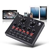TXYFYP Vivo Tarjeta de Sonido, USB Audio Interfaz Ajustable Audio Mezclador Sonido Tarjeta con Múltiples Divertido Sonido Efecto para Grabación Almacenaje Discurso Karaoke Youtube Vivo
