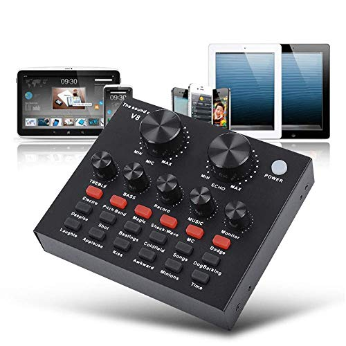 Txyfyp Live Sound Karte, USB Audio Interface Einstellbar Audio Mischpult Sound Karte mit Mehreren Lustig Sound Effekt für Aufnahme Hosting Speech Karaoke Youtube Live