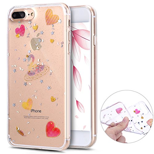 Herbests Coque iphone 7 Plus, iphone 8 Plus Coque Transparente Silicone Gel TPU Souple avec Cute Motif Dessin Mignon Imprimé, Housse Etui de Protection Bumper Case Cover,Cygne Transparent